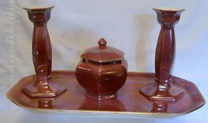 W & R Carlton Ware Pink Lustre 4-Piece Windsor Trinket Set - early 1900s